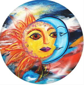 Glass Yellow Lady Sun Face Moon Abstract 18mm Snap Charm For Ginger Snaps