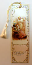Victorian Paper Bookmark Pansy Flower Lady'S Hand String Tassel Gift Tag #Bk-09