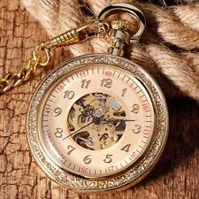 Luxury Gold Open Face Skeleton Mechanical Hand Winding Men Pocket Watch Gift