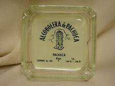 "Vintage Clear Glass Ashtray reads"" Alcoholera de Pachuca 3 1/2"" Square"