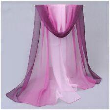 destockage foulard écharpe neuf 100% mousseline de soie dégradé violet à rose