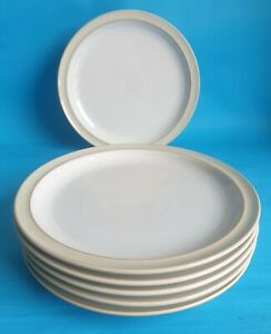 Vintage Denby 'Linen' 26.5cm Dinner Plates x 6