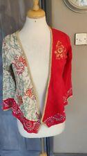 Karen Millen Silk Wool Red Cream Floral Embellished Cardigan Size 8/1 *GC*