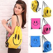 3 Colors Women Cute Smiling Drawstring Nylon Backpack Swimming Beach Travel Bags