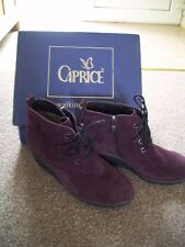 Women's Caprice Wine Suede On Air Insole Ankle Boot size 6 39 BNIB