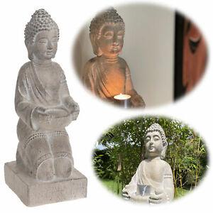 XL Deko Figur Buddha Statue 43cm sitzend Grau Weiß Kunstharz Sockel Garten Budda