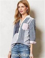 NEW $88 Anthropologie PATCHWORKED HENLEY Top Shirt Buttondown Blouse SZ 6