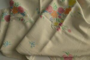 Vintage Irish Cotton/Rayon Irish Damask Tablecloth - Painted Florals, Roses
