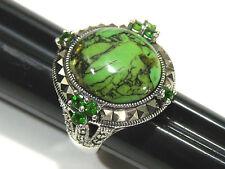 Gem Insider Sterling Silver 17 x 15mm Green Kingman Turquoise & Marcasite Ring 7