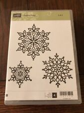 Stampin Up FESTIVE FLURRY Wood mount stamps snowflakes Christmas snow 2 Of 2