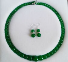 """Natural!6-14mm Green Emerald Gemstone Round Beads Necklace Earrings 18"""""""