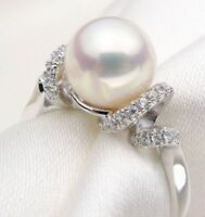 Stunning Natural Perfect Round AAA 10mm Akoya White Pearl Ring 8#