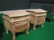 2 x Raw Unpainted 100% Mahogany French style Rococo Bedside cabinets Nightstand