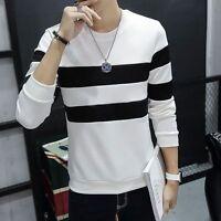 Men Hoodie Hooded Long Sleeve Stripe Undershirt Slim Sweater Tops Pullover Coat