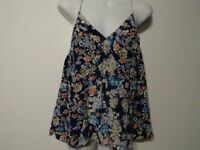 Rebecca Taylor Women's Floral Silk V Neck Key Hole Spaghetti Strap top Sz 6