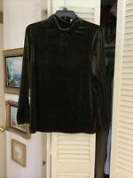 Susan Graver Brown Velour Turtleneck Sweater, Size 1X