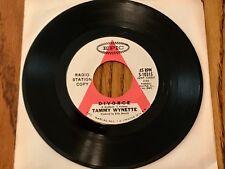 Tammy Wynette DIVORCE Original 45 rpm RADIO STATION COPY