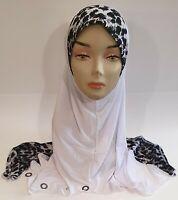 White One Piece Slip-On Pattren Muslim Hijab Head Wear Cover Scarf Islamic Dress