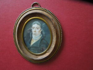 J 2967 ANTIQUE MINIATURE  WATER  COLOR PAINTING  ON  BONE?  MOURNING SEE  DESCR