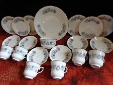QUEEN ANNE Mauve Blue Floral 20 pc TEA SET 6 Trios Sugar Cake Plate FREE UK POST