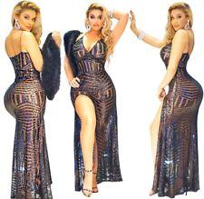 Abito lungo ricamato Aderente Scollo Cerimonia Party Cocktail Sequin Dress M