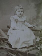 Antique Cabinet Photo-Pretty Girl,Ruffled Fashion Dress,Rustic Props-Phila,Pa