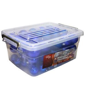1B-Ware - 70-teiliges Christbaumkugeln Weihnachtskugel-Set + Transportbox Blau