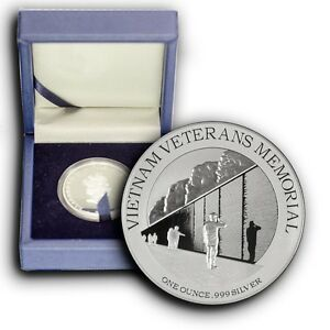 2015 Vietnam Veterans Monument 1 oz Proof Silver Coin W/Box & COA, 5000 Minted