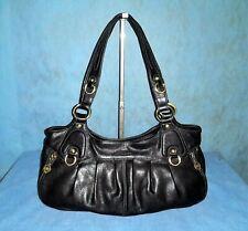 sac POURCHET en cuir noir porté main ou épaule  SUPER ETAT