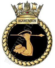 HMS AGAMEMNON BADGE / CREST ON TEA / COFFEE COASTER. 9cm X 9cm. ROYAL NAVY