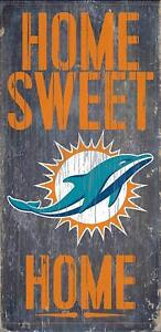 """Miami Dolphins Home Sweet Home Wood Sign 12"""" x 6""""  NFL Man Cave Wood"""