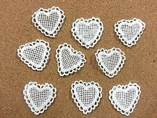 LM9- 10 Ivory Vintage LACE Applique Guipure, Sew On Fabric HEART Crochet Motifs