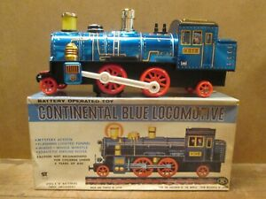 CONTINENTAL BLUE LOCOMOTIVE #4018, Modern Toys TIN TOY TRAIN, Mint in Box, 1960