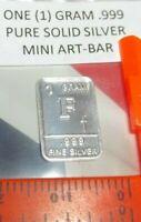 1 Gram .999 Pure Fine Solid Silver ~ Uncirculated Mini Art-Bar:  Letter ~ F ~