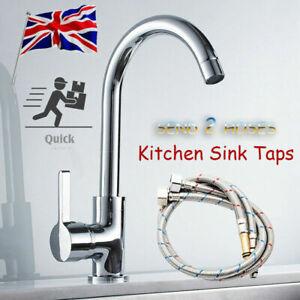 Kitchen Sink Mixer Taps Swivel Spout Single Lever Tap Mono Modern Chrome Faucet