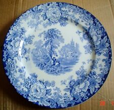 English Semi Porcelain Blue And White Salad Or Breakfast Plate