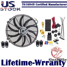 16'' 12V 3000CFM Electric Radiator Cooling Fan & Thermostat Wiring Relay Kits US