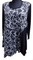Damen Tunika Shirt A-Stil Viskose zipfelig schwarz-grau Lagenlook EG 44-46