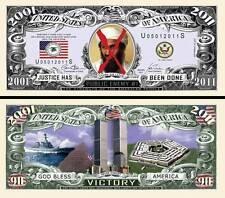 Mort de BEN LADEN BILLET COMMEMORATIF MILLION DOLLAR US! Collection 11 Septembre