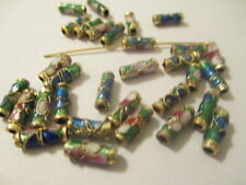 100 Green Gold Trimmed Cloisonne Metal Beads 9X3 mm  A+ Quality ~ LFG
