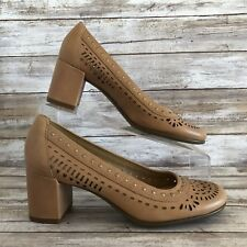Aerosoles Womens 7M Brown Laser Cut Studded Block Heel Work Dress Pumps Shoes