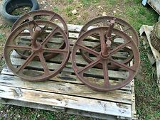 "Set Of 4 Old Vintage 24"" Cast Iron Sheppard Hut Implement Wheels"