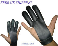 ARCHERS REAL LEATHER SHOOTING 3 FINGERS GLOVE BLACK & CHOCOLATE BROWN
