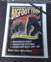 NEW Bigfoot Print - Backwoods Adventure - Printed in USA 9x12 - Lantern Press