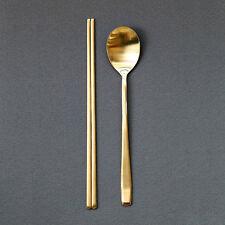 Korean Royal Spoon Chopsticks Stainless Steel Titanium Gold Super Durable