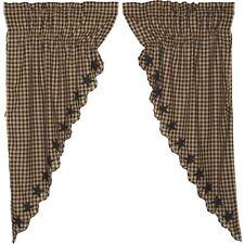 "Black & Tan Check with Star Appliques Drawstringtyle Prairie Curtain Set 63"""