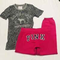 Victoria's Secret PINK My Favorite Sweatpant & Gray Burnout University Tee Small