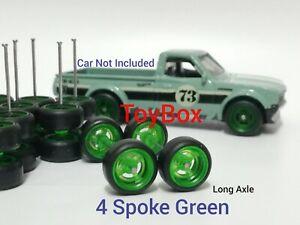 Custom Wheels HOT WHEELS RUBBER WHEELS TIRES 10 SETS 1/64 4 Spoke 10mm Green