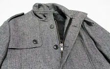 $450 SELECTED HOMME Covent Gray-Wool Checks Padded Military Coat Jacket X-Large