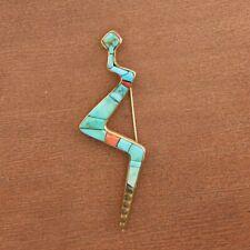 14k Yellow Gold Vintage Charles Loloma Hopi Style Turquoise Snake Pin